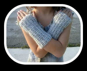 Fingerless Gloves Beige Mohair