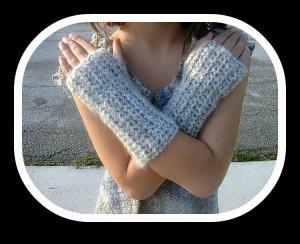 Fingerless Gloves Beige Mohair