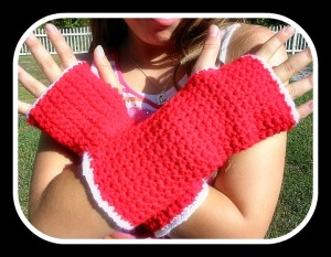 Fingerless Gloves Fire Engine Red