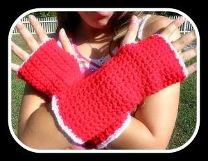 Fingerless Gloves Fire Engine Red